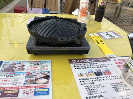 ビアガーデンのジンギスカン鍋